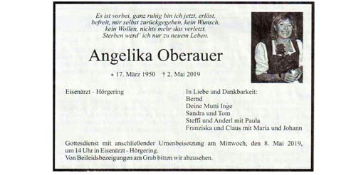 Wir gedenken unseres Gründungsmitglieds Angelika Oberauer